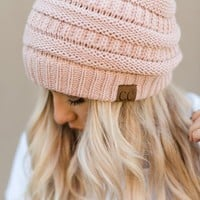 Knitted Pull On Beanie - Rose Pink