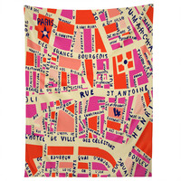 Holli Zollinger Paris Map Pink Tapestry