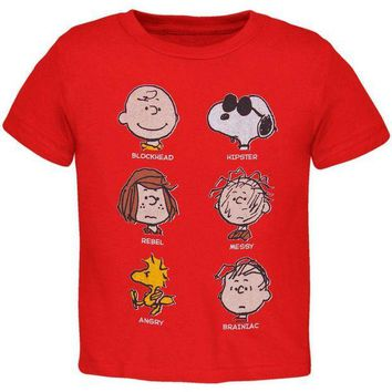 PEAPGQ9 Peanuts - Red Faces Toddler T-Shirt