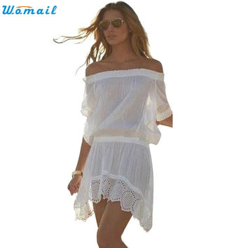 Summer Beach Cover Up Off Shoulder Dress Sarong Beach Chiffon Bathing Suit 2017 New Beach tunic Beachwear Pareo Dec09