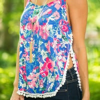 Floral Compass Tank, Blue-Pink