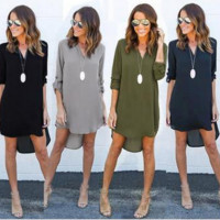 Irregular Hem Chiffon T Shirt Dress B0013947