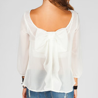 Truth Bow Back Womens Top Cream  In Sizes