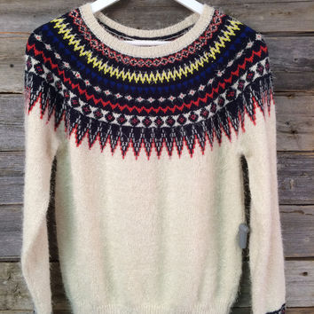 FAIR ISLE PRINTED SWEATER - CREAM
