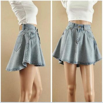 2017 Free Shipping New Arrival Fashion Denim Skirts Womens A-Line Irregular Jeans Flared Skirt Women Above Knee Mini Jean Skirt