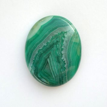 Big Green Onyx Agate Cabochon 51mm Oval Shape Pendant Size Natural Stone Cab Jewelry Design Wire Wrapping Jewelry Supply Stone Setting Bezel