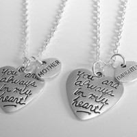 2 Mother Daughter You Are Always In My Heart  Necklaces BFF