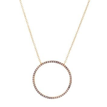 Gold Over Sterling Silver Two Tone Rose Opal Open Circle Necklace