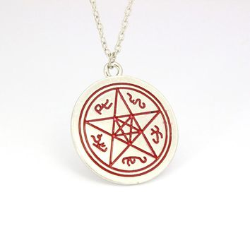 Hot Selling Supernatural Dean Rune Necklace Supernatural Dean Rune Logo Enamel Pendant Necklace Women Men Gift