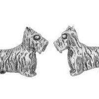 Sterling Silver Earrings Scottie Dog Studs Tiny Mini Scottish Terrier Stainless Steel Posts Backs