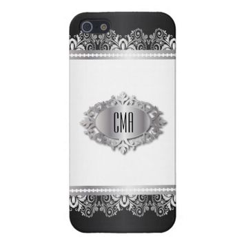 Elegant Black, White and Silver Lace iPhone 5/5S Cover