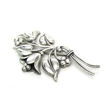 Bell Flower Brooch. Nordic Style. Large Sterling Silver Bouquet . Sterling Craft by Coro. Vintage 1940's Retro Jewelry