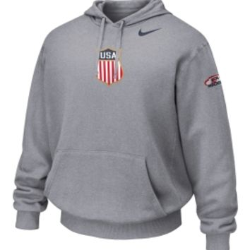 Nike Men's USA Hockey Crest Grey KO Hoodie