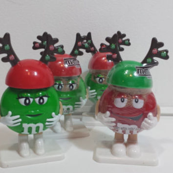 Official M&M's Collectible Christmas Reindeer Toy Candy Cake Topper, Stocking Stuffer, Gifts Under 5, Gift Container, Red and Green Ms