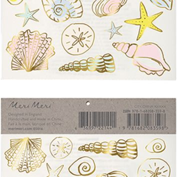 Seashell Temporary Tattoos in Metallic Gold and Pastel