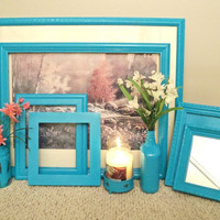 Shabby Chic Frames, Wedding Frames, Vintage Frames, Turquoise Gallery Frames, Home & Living, Housewares, Shabby Chic Home Decor,