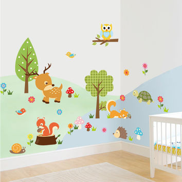 Cute Animals Wall Sticker Zoo Tiger Owl Turtle Tree Forest Vinyl Art Wall Quote Stickers Colorful PVC Decal Decor Kid Baby Room SM6