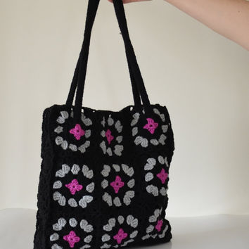 Boho Black Crochet Bag, Granny Squares Handbag, Shoulder Bag, Crochet Tote Bag, Trendy Summer Tote Bag, Women Fashion, Designscope