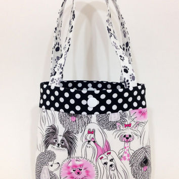 Toddler tote little girl purse dogs puppies tote pink tote pink purse little girl birthday gift toddler gift tot tote water resistant lining