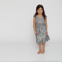 FREE SHIPPING - Leopard print dress, Girls chiffon dress,  Flower girl Dress, Girls bridesmaid dress
