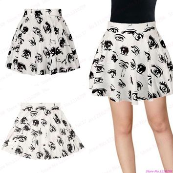 Popular Big Eyes Print Women Mini Skirts Sexy Eyes With Tears High Waist Pleated Cheerleading Sport Short Skirts Femininas Saias