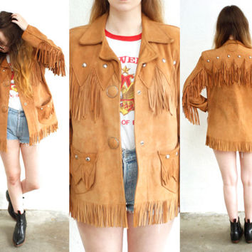 Vintage 70s FRINGE Leather Suede Studded Jacket Pioneer Coat // Brown Tan Cognac // Western Hippie Gypsy Boho Biker // Small / Medium
