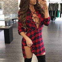 Deep V Neck Casual Long Sleeve Lace Up Plaid Shirt Dress Vestidos Plus Size Amazing