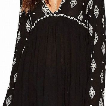 Free People Womens Diamond Embroidered Top