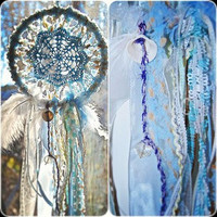Dream Catcher with baby blue crocheted center by TheLittleBigShop
