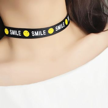 N249 Letters Smile Face Choker Necklace Gothic Punk Chokers Colares Jewelry Casual Necklaces Punk Goth Jewellery Bijoux