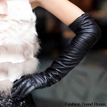 Women Arm / Elbow Length PU Leather Gloves