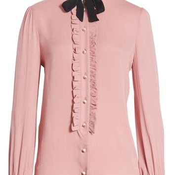 Gucci Tie Neck Ruffle Detail Silk Blouse | Nordstrom