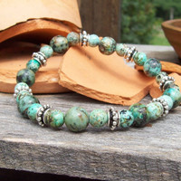 African Turquoise Beaded Bracelet with Silver Rondelles