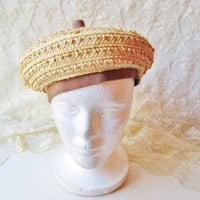 Straw Beret Vintage Lady Hat Tam Ornate Woven Straw Tan Brown Grosgrain Band Union made USA Mad Men Fashion Accessory Unique Easter Mother