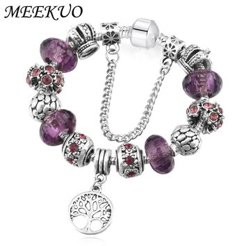 Vintage Silver For Pandora Bracelet&Bangle with Tree of life Pendant & Three color Crystal Ball charm bracelets for women