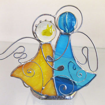 Stained glass Angels. Candle holder. Unique gift. Handmade candleholder Angels.  candle holder Angels. Valentine Day gift.  Gift for lovers