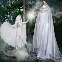 Fairy Fantasy Cosplay Costume White Dress Pixie Hooded Gown Medieval Style Renaissance Floor Length Dress Elegant Fariy Cape Pri