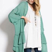 Oversized Sheer Ruffled Open Cardigan