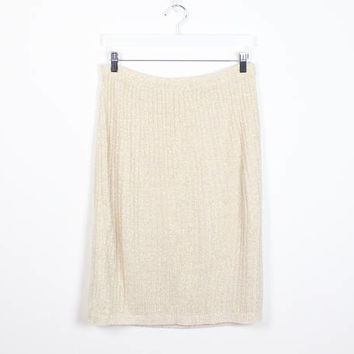 Vintage 1980s Skirt Beige Ivory Gold Metallic Knit Skirt Elastic Waist Sweater Skirt Mini Skirt 80s Skirt Pencil Skirt Preppy XL Extra Large