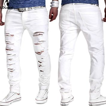Denim Ripped Jeans for Men Distressed Slim Fit