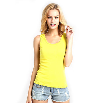 2017 Summer Fitness Tank Tops Sexy T Shirt Women Shirts Vest Cotton Cropped Sleeveless Round Neck Ladies Slim Clothes Femme