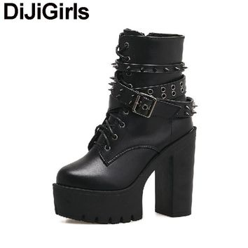 *Women Ankle Boots Punk Gothic Rivets Stud Strap Biker Bootie Platform Ultra Very High Heel Thick Shoes Plush Snow Boots