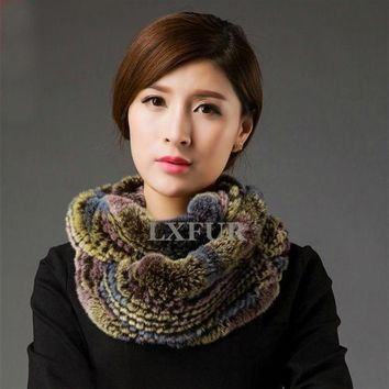 Womens Genuine Fur Scarves Lady Rex Rabbit Fur Muffler Winter Real Fur Neckwarmer Multicolor Natural Fur Wraps Lx00495