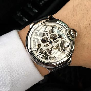 DCCK C021 Cartier Skull Hollow Automatic Machinery Leather Watchand Watches Black Sliver