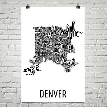 Denver Neighborhood Typography Prints – Modern Map Art