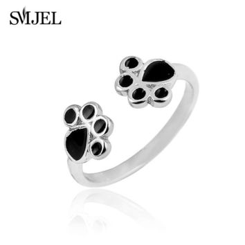 SMJEL New Fashion Silver Cat Paw Print Rings for Women Cute Animal Black Oil Dog Pug Paw Open Ring feminino Party Gift R183
