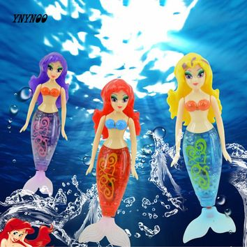 Robot small mermaid fish tail swimming dolls colorful wig electronic toy