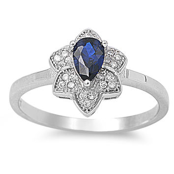 925 Sterling Silver CZ Cluster Star Flower Teardrop Simulated Sapphire Ring 11MM