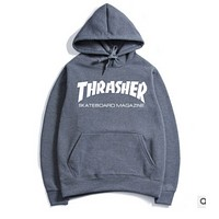 Thrasher Winter Sweater Hoodie  sweater set men flame head movement  Dark Gray +white letters