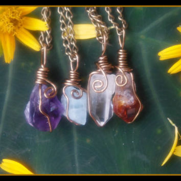 Boho, Grunge, Hippie, Crystal, Rock, Charm, Choker, Chain, Necklaces, necklace, layering, amethyst, quartz, aquamarine, citrine, rough, wire